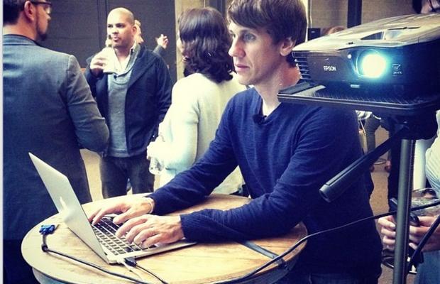 Dennis Crowley playing with the FourSquare API demo, photo via Owen Thomas