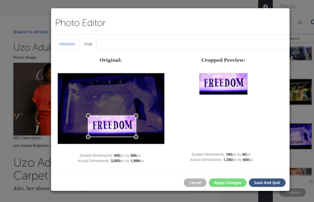 Image cropping within the CMS