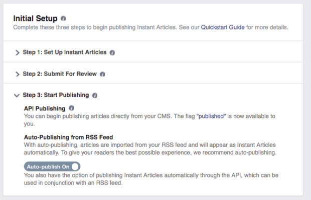 This is what auto-publish looks like when it is turned on.