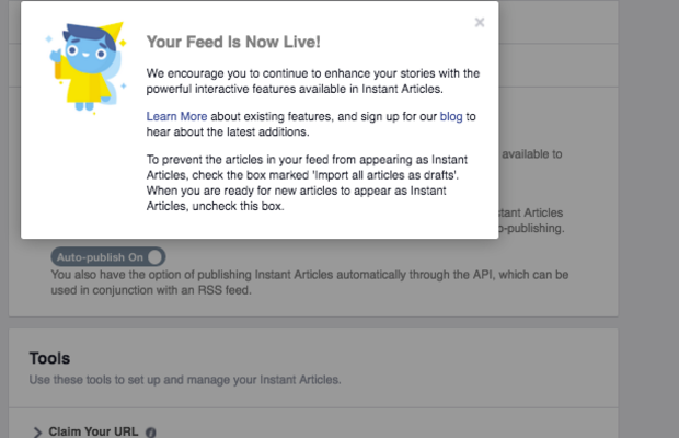 This pop up will appear to notify the publisher that the feed is live once auto-publish is turned on.